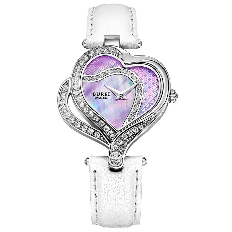 BUREI 13006 suisse montre femmes marque de luxe romantique amour coeur série autriche diamant violet relogio feminino