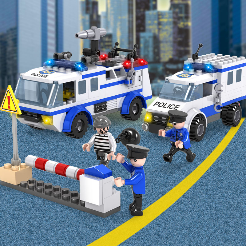 COGO Police Building Blocks Toys For Children Gifts City Cop Hero Cars Prisoner Trucks city series police car motorcycle building blocks policeman models toys for children boy gifts compatible with legoeinglys 26014
