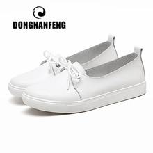 DONGNANFENG נשים סטודנטים Gril נשי אמיתי עור לבן נעלי דירות פלטפורמת תחרה עד קוריאני נעלי גופר מזדמנים פס 173