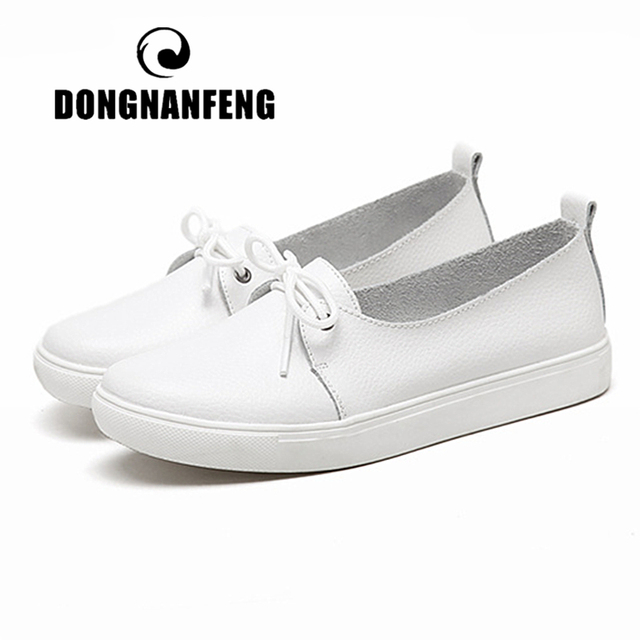DONGNANFENG Women Students Gril Female Genuine Leather White Shoes Flats Platform Lace Up Korean Casual Vulcanized Shoes FEZ-173