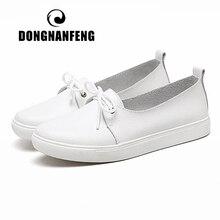 DONGNANFENG kadın öğrenciler kız kadın hakiki deri beyaz ayakkabı Flats platformu Lace Up kore rahat vulkanize ayakkabı FEZ 173