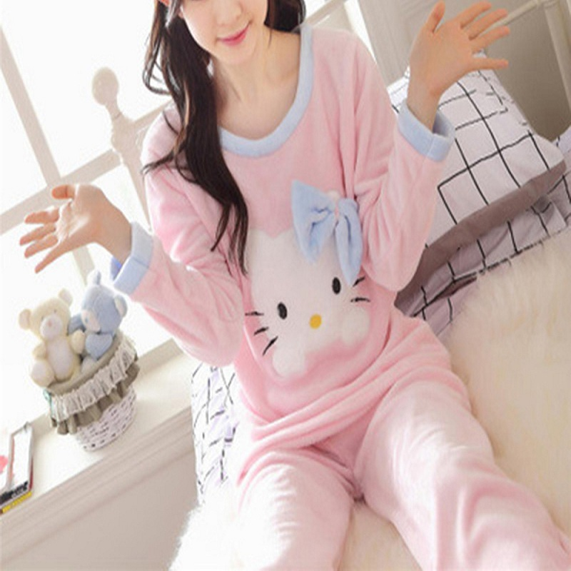 065fd96663 Women Cute Pink Hello Kitty Cat Coral Velvet Pajama Set 2018 Winter Thick  Soft Home Sleepwear Warm Japanese Fashion Pajamas Suit-in Pajama Sets from  ...