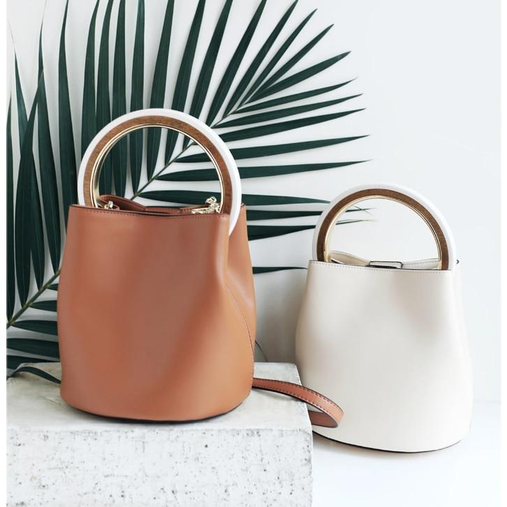 ENSSO nouveauté Vintage solide poignée circulaire Split cuir généreux marron blanc femmes sac à main sac à bandoulière en métal chaîne fourre-tout