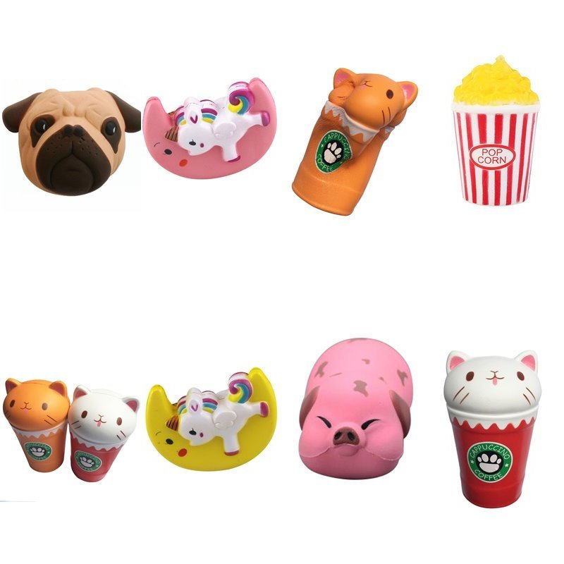 Kawaii Cute Soft Pu Slow Rebound Mobile Phone Straps Squishy Toys Pink Pig Dog Unicorn Popcorn Slow Rising Phone Decor
