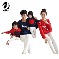 Family Matching Outfits Mom/Dad/Baby Love Heart-shaped Long-Sleeve Cotton T shirts spring/autumn Family Clothing sets