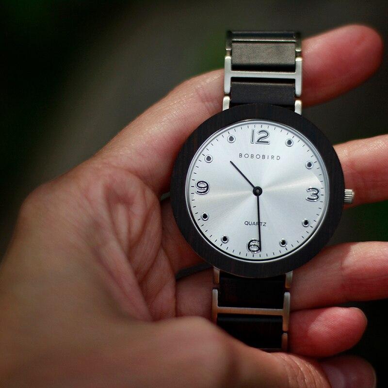 BOBO pájaro de madera Acero inoxidable relojes de mujer 6mm ultrafino impermeable Japón cuarzo hombres reloj grandes regalos - 6