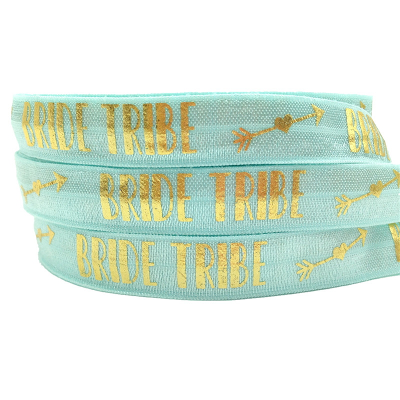 10 yards lot Gold Foil Bride Tribe Print Fold Over Elastic 5 8 quot FOE Elastic Ribbon for DIY Hair Supplies Hair Accessories in Ribbons from Home amp Garden
