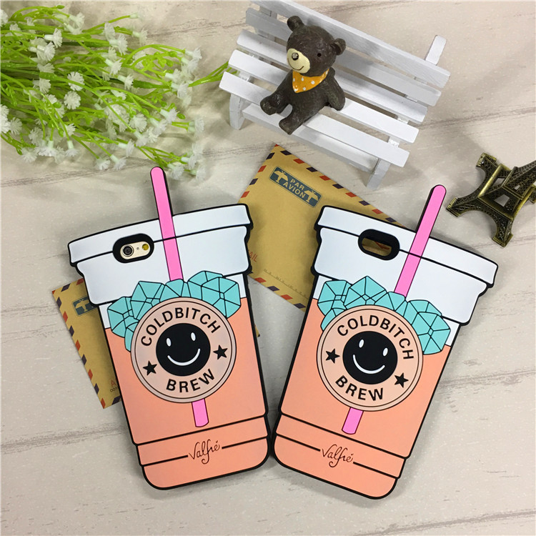For iPhone 5 5s / 5C / SE/ 6 6s / 6 Plus 6s Plus 7 Plus Smiling face bottles Silicone Rubber Cell Phone Cases Covers