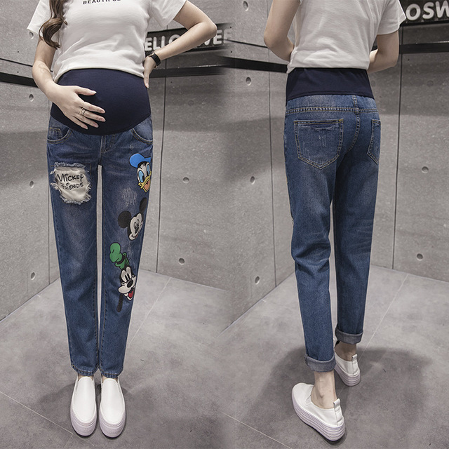 762e31823bc39 Maternity Denim Jeans Elastic All-match Cartoons Stonewashed Waist Belly  Pencil trousers Pregnant women Pregnancy Pants C15 10