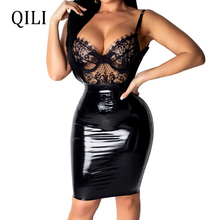 QILI Women Sexy Lace PU Dress See Through Mesh Patchwork Backless Leather Dresses Black Blue And Red 2019 Summer