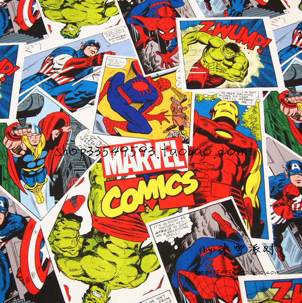 140 * 50cm 1pc Fabrik Komik 100% Cotton Fabric Cotton Cotton, Comics.The Avengers Cetak Fabrik Jahit Rumah Tekstil Kain