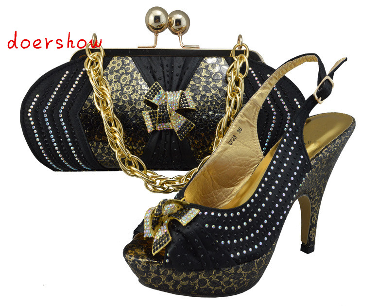 doershow BLACK Newest Design African Women Pumps With Matching Bag With Rhinestone Elegant European Sandals On Promotion!ZX1-5 doershow women slipper elegant african women sandals shoe for party african wedding low heels slip on women pumps shoes abs1 5