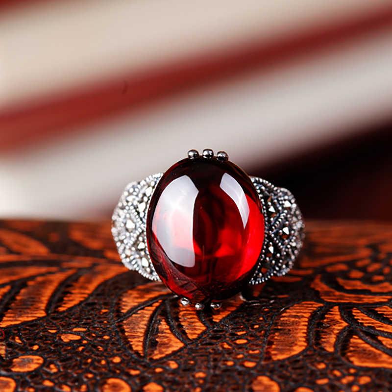 Kualitas tinggi 925 sterling silver mode Vintage Bohemia perhiasan batu Alam garnet Bohemia cincin Perempuan pecinta hadiah terbaik