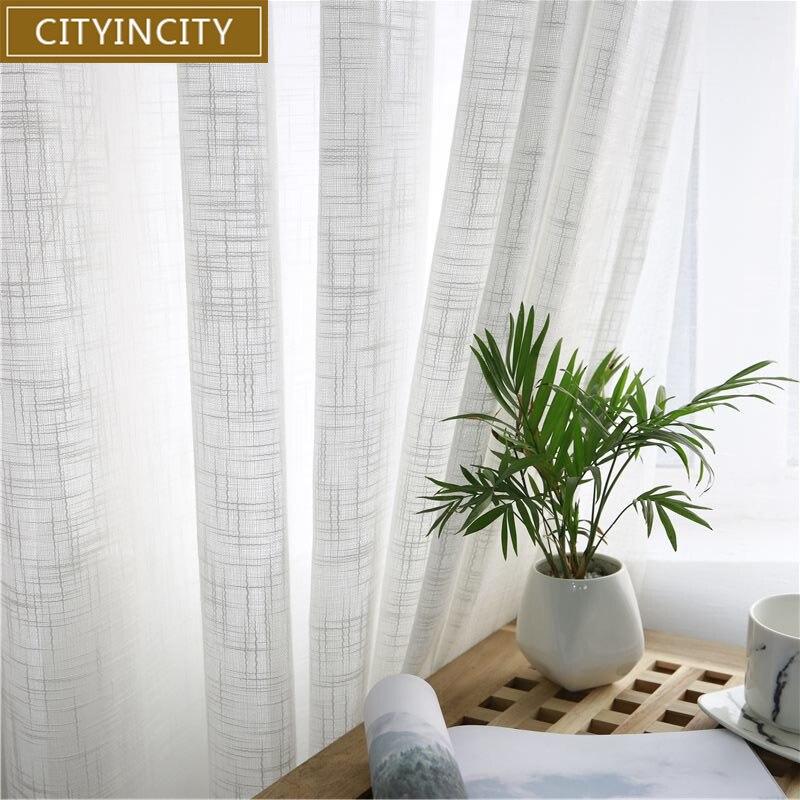 Cortinas americanas de tul CITYINCITY para sala de estar suave gasa blanca sólida Rural cortina de tul para dormitorio cortina hecha a mano