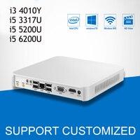 Мини компьютер офисный компьютер Core i5 3317U 5200U 6200U Mini PC Windows 10 неттоп Core 4010Y с Процессор вентилятор HTPC HDMI 6 * USB