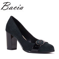 Bacia Sheep Suede Women Pumps Round Toe Thick Heel Soft Leather Shoes Ladies Green Wine High