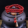 New authentic natural crystal red agate bracelets lucky tibetan rosary prayer beads statement jewelry with pendant