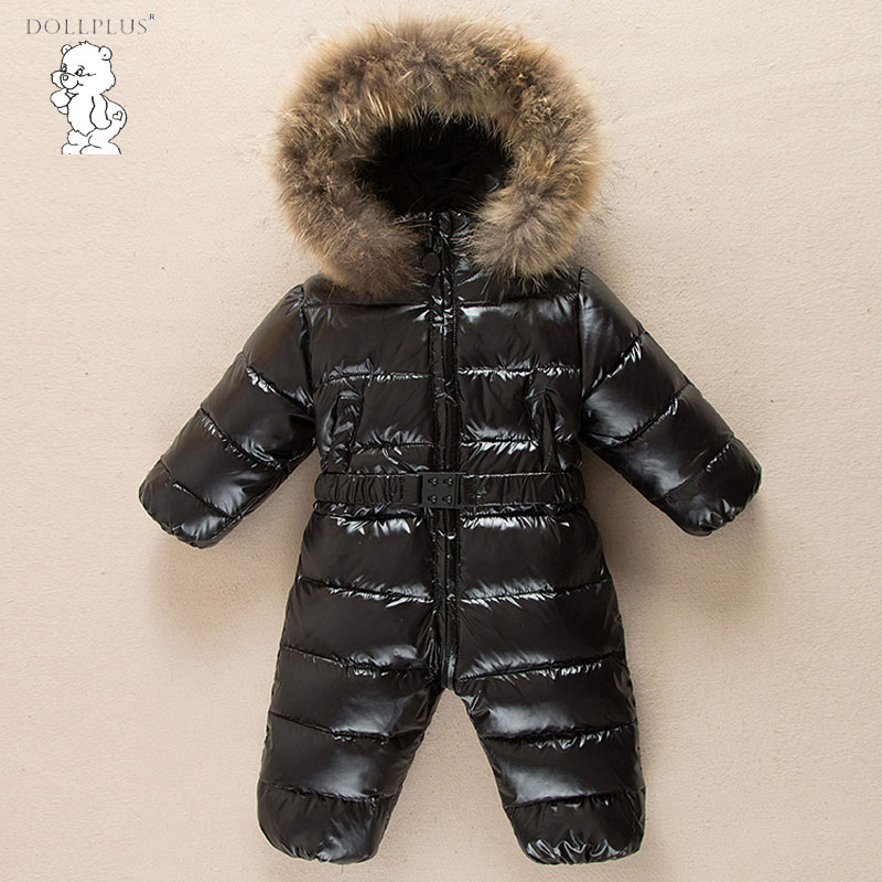 Newest Christmas Baby Rompers Duck Down Winter Overalls Thick Warm Jumpsuit 2017 Newborn Clothes Infant Boys Girls Outwear christmas 2017 brand new winter newborn infantil baby rompers kid boys and girls clothing real fur jumpsuit down overall jacket