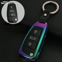 Liga de Zinco + Couro Tampa Da Chave do carro Caso Shell Para Audi A1 A3 A4 A5 Q3 Q5 Q7 C5 C6 A6 A7 A8 A4L A6L R8 S4 S5 S6 S7 S8 SQ5 RS5 Cadeia