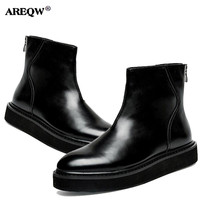 AREQW Autumn Winter High To Help Men S Shoes Warm Anti Skid Martin Boots Patent Leather