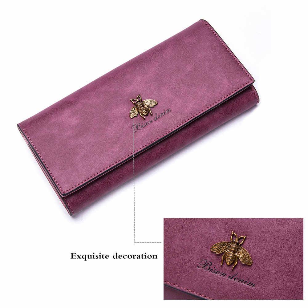 BISON деним коровья кожа женский клатч женский длинный кошелек держатель карты на молнии кошелек женский клатч кошелек бумажник Feminina N3273