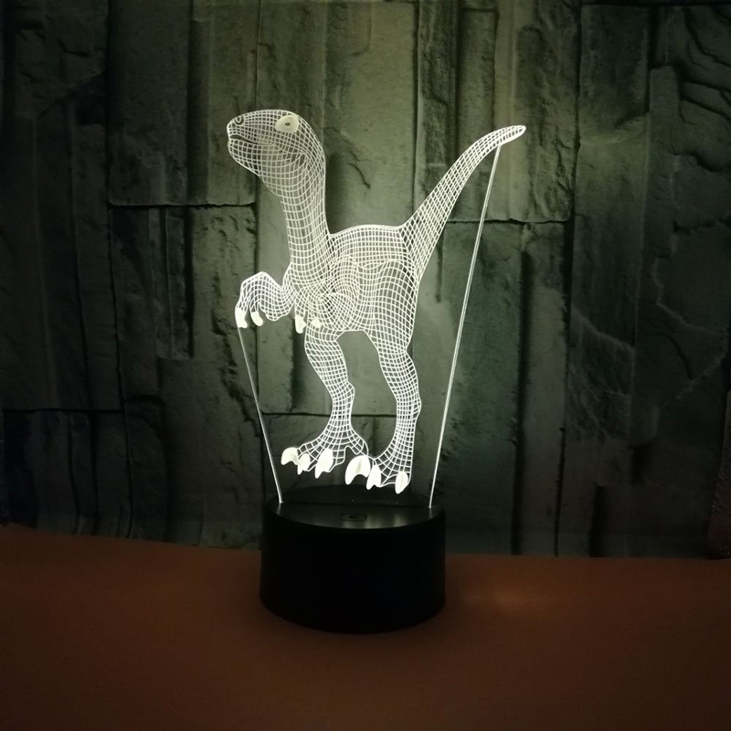 цены на Dinosaur 3D Illusion Led Lamp 7 Color Led Bulb Decoration Night Light USB Touch Sleeping Table Desk Lamp Child Kids Baby Gift