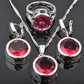 Forma redonda Cúbicos Zircão Vermelho Conjuntos de Jóias de Prata Para As Mulheres Brincos/Pingente/Colar/Anéis Frete Grátis JS0463