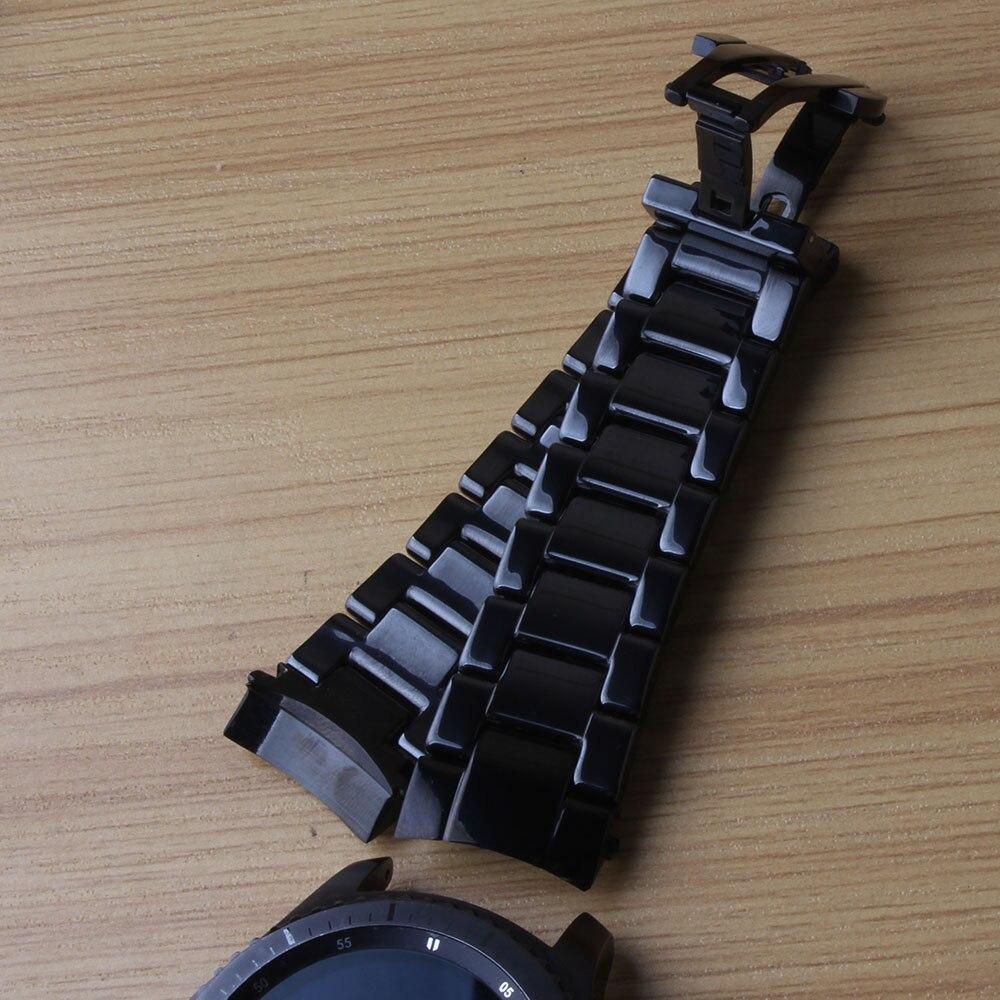 Nouveau bracelet de montre en céramique bracelet de montre noir 22mm bracelet de montre boucle papillon pour Gear s3 hommes bracelet de haute qualité extrémités incurvées vernis
