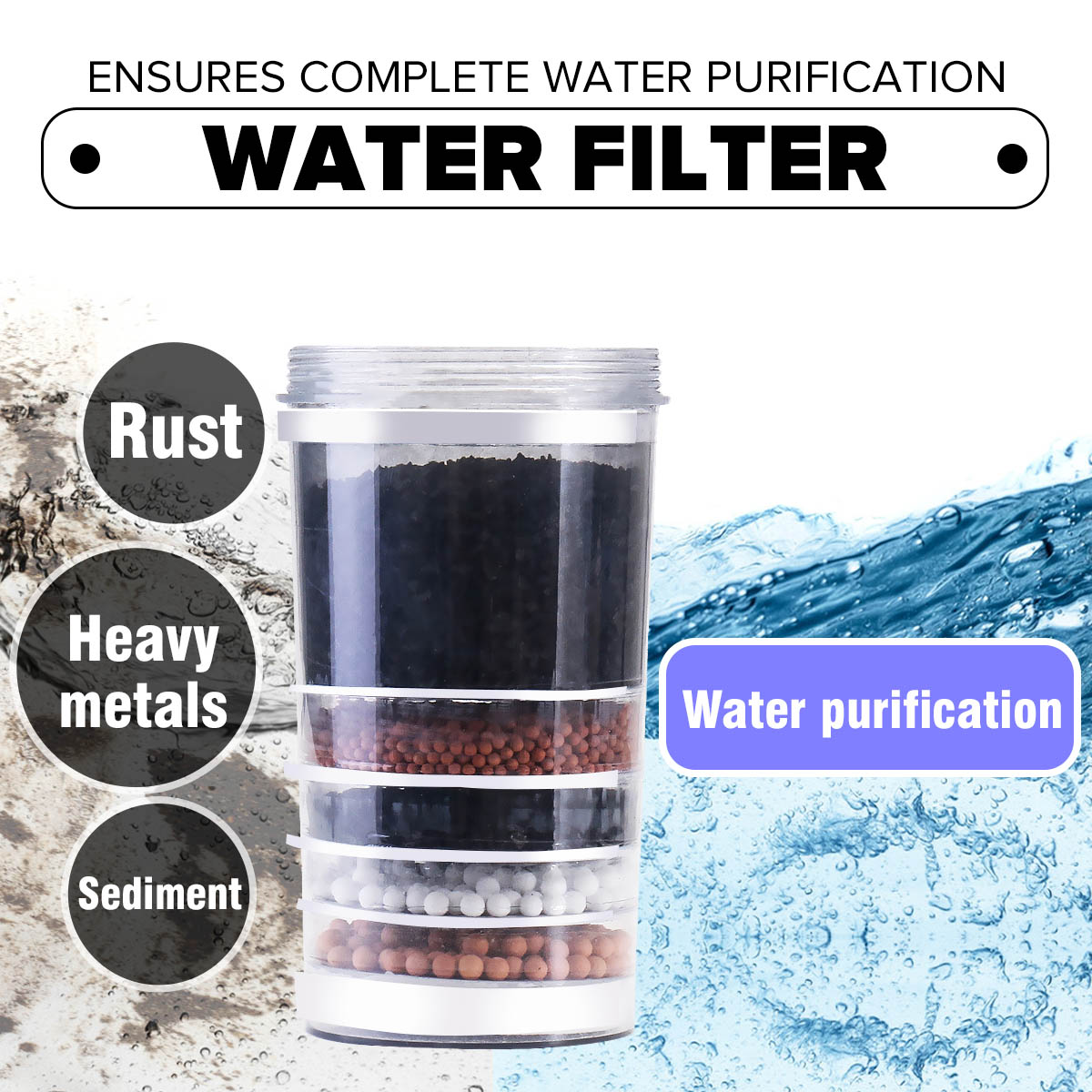 Household Activated Carbon Water Filter Top Ceramic Carbon Mineral Replacement Cartridge Water Purifying Filtration Cartridge