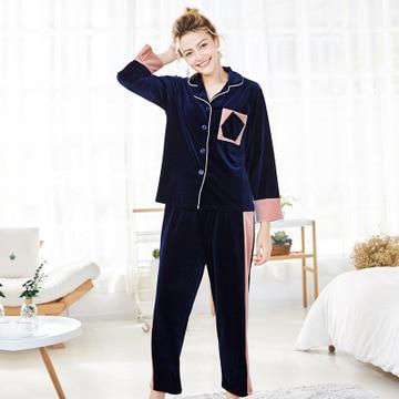 Daeyard Women Luxury Velvet Sleepwear Pajamas Autumn Winter Full Length Pajama Sets Sexy Contrast Color Pyjamas Casual Homewear