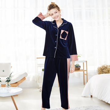 Daeyard Women Luxury Velvet Sleepwear   Pajamas   Autumn Winter Full Length   Pajama     Sets   Sexy Contrast Color Pyjamas Casual Homewear