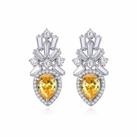 Luxury Waterdrop  Yellow Cubic Zircon Crystal Women Stud Earrings Charm Birthday Party Jewerly Accessories Gift