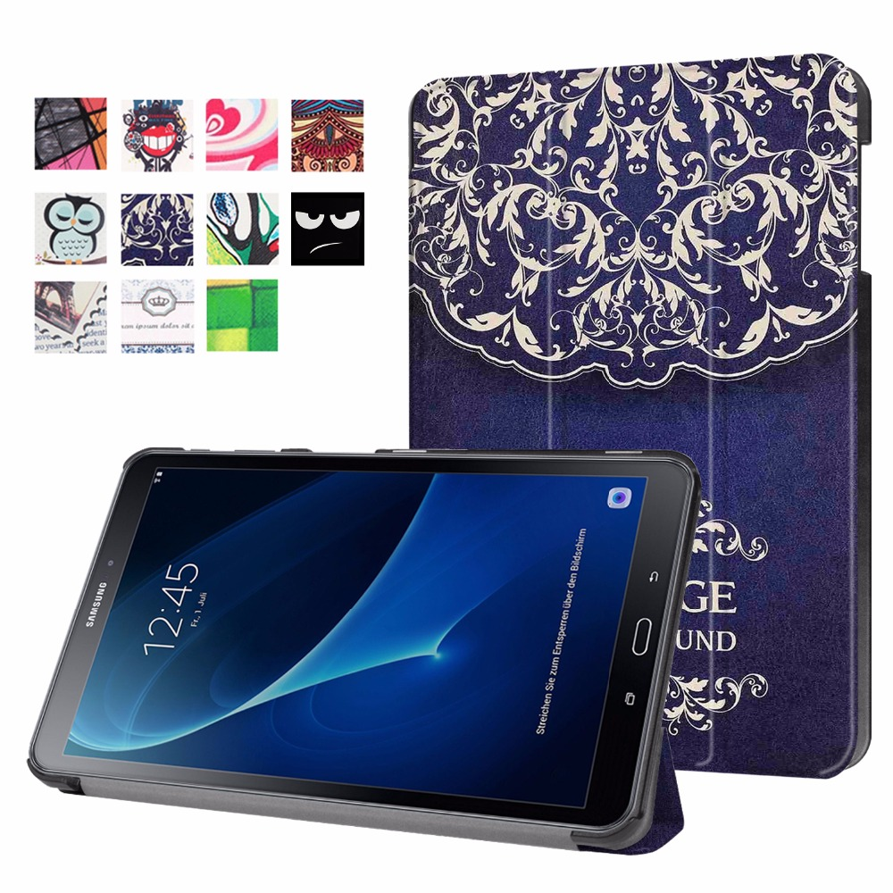 Slim Magnetic Folding Flip PU Leather Cover Case for Samsung Galaxy Tab A 10.1 2016 T585 T580 SM-T580 T580N Funda Case+Film+Pen luxury folding flip smart pu leather case book cover for samsung galaxy tab s 8 4 t700 t705 sleep wake function screen film pen
