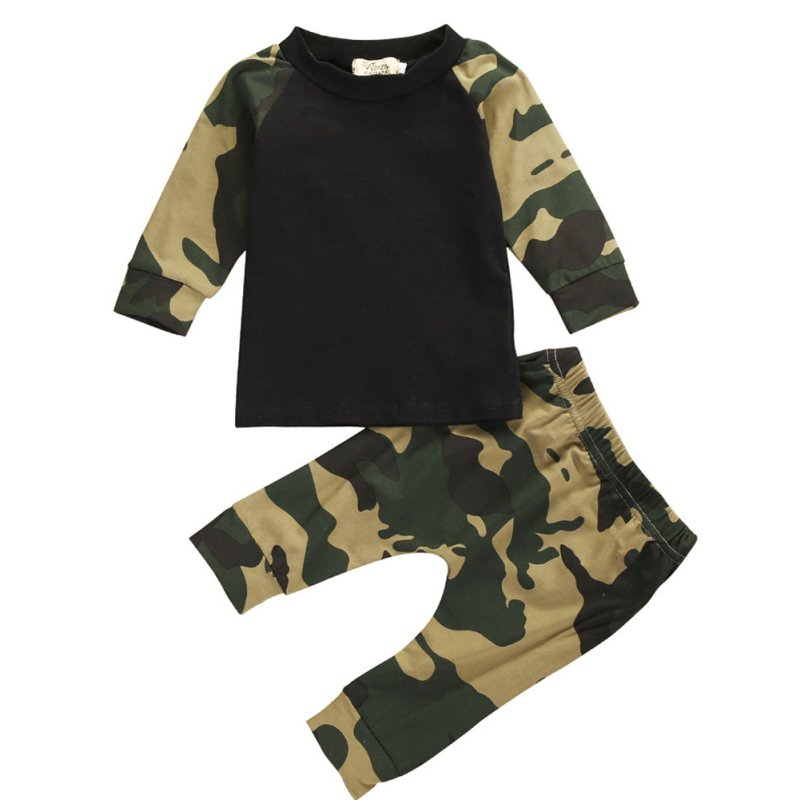 Spring Newborn Kids Camouflage Sets Baby Boys Long Sleeve Clothes T-shirt Tops + Pants Outfit Set newborn kids baby boy summer clothes set t shirt tops pants outfits boys sets 2pcs 0 3y camouflage