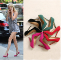 2017 New Summer Style Women's Sexy High Heels Pointed Toe Platform Celebrity Ladies Sandals Pumps Shoes Red Pink Green Black