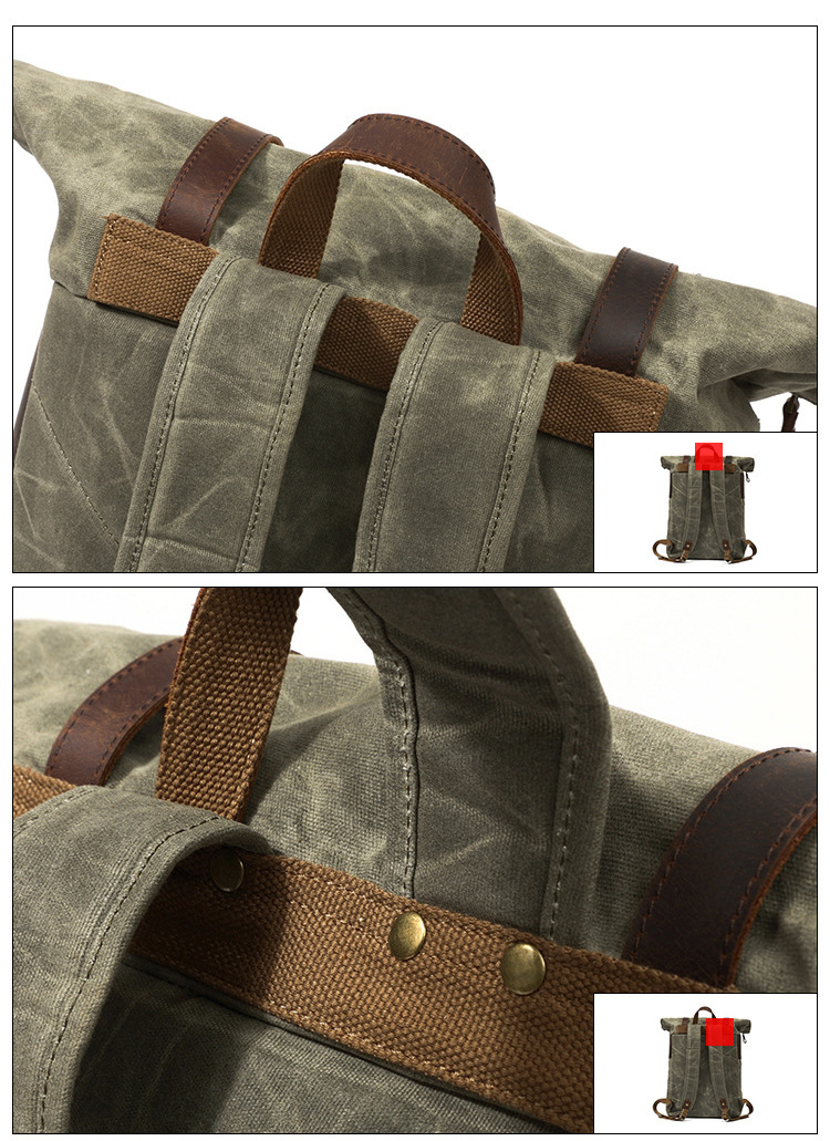 strap details of the army green Vintage Duffle Backpack