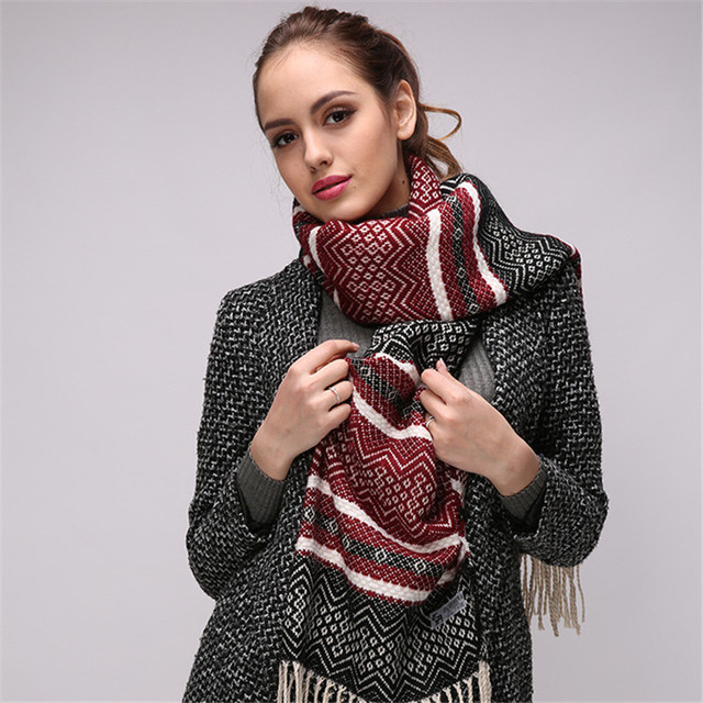 e539bc9cb91ba 2018 Brand Scarf Winter Women Scarf Female Wool Shawl Best Quality Cashmere  Plaid Scarves Thicken Warm Long Woman Wraps Shawls