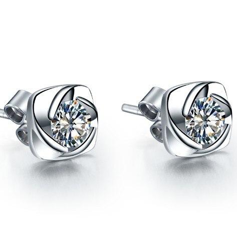 AU585 Earrings Female Jewelry Stud Solid White Gold 14K SONA Diamond Stud  Engagement 0.3CT Piece Bridal Earrings Stud-in Earrings from Jewelry    Accessories ... 40c802182299