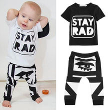 Newborn Baby Boys Cotton Clothes Short SleeveTops T Shirt + Trousers Tracksuit Clothing Set 0-2Y