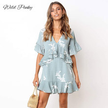 WildPinky Boho Elegant Print Ruffles Women Dress Short Sleeve Loose Casual Summer V-neck High Waist Sexy Vestidos
