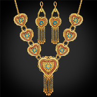 Heart 2016 Valentine S Day Gift Indian Jewelry Earrings And Necklace Set 18K Yellow Gold Plated
