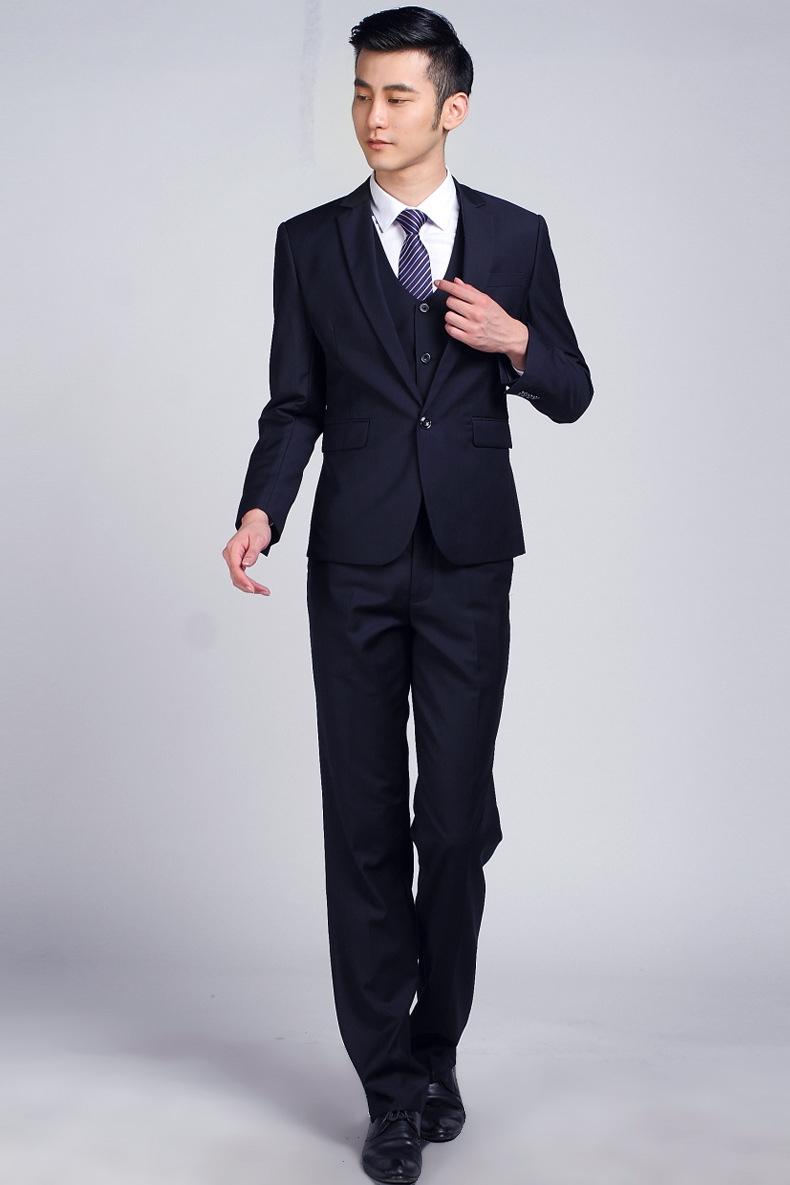 Aliexpress.com : Buy Dark Blue Formal Wedding Men Suit Set Fashion ...