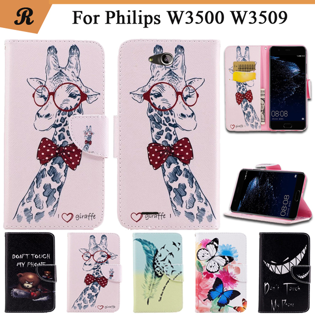 Painted Wallet Flip Case For Philips W3500 W3509 PU leather Card Slot Stand bag High Quality Cover fundas with Strap
