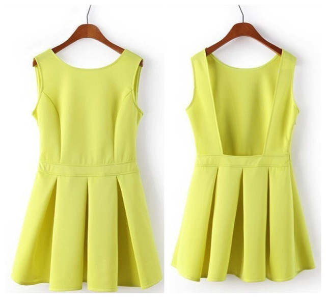 582ab31af19c 2015Sexy Fashion Plus Size Women Neon Green Open Back Backless Skater  Dresses Mini Party Dress Sundress Tunics Gowns Beach Dress
