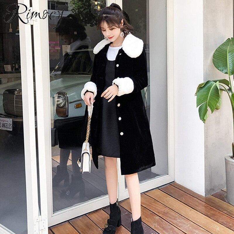 da81f58ee3656 Hiver Mélanges Chaud Rimocy Long 2018 Nouvelle Femmes Col Fourrure Laine  Cachemire Outwear Noir Automne Manteau ...