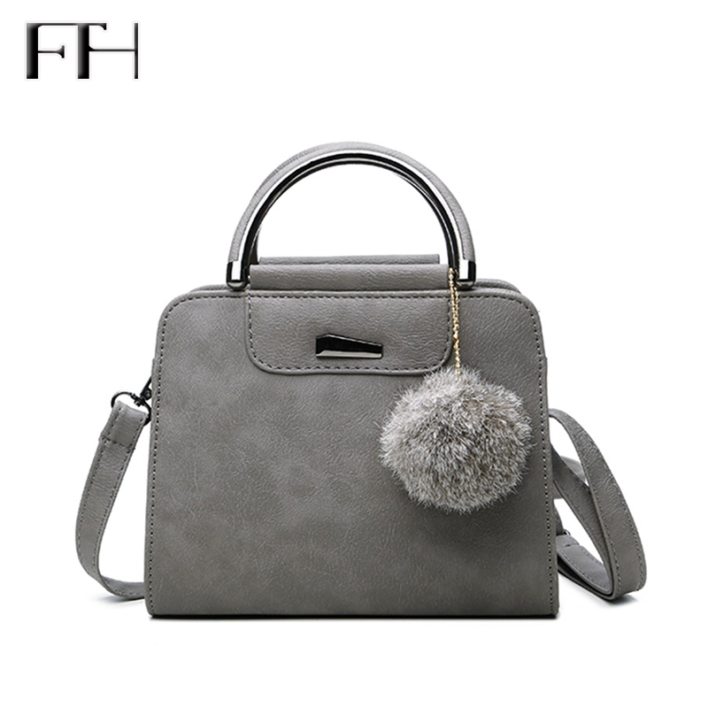 Hot Fashion matte Leather women shoulder Handbag with Fuzzy ball lady pendant messenger bag female crossbody