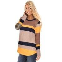 2017 Autumn Winter Sequin Print Striped Women Shirts Fashion All Match Long Sleeve Round Collar Elastic