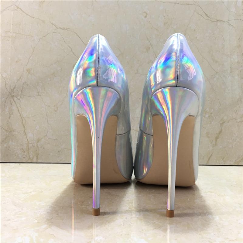 M Nouveau Chaussures Coloré En Luxe As Haute Argent Pompe Extrême Cuir À Bout Mode De Talons 12co Talon Femmes Soirée Show Pointu OwXrqOp