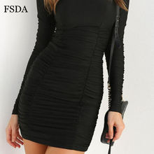 FSDA Black Ruched Bodycon Dress Long Sleeve Sexy Casual Solid Women Summer Spring Mini Dresses