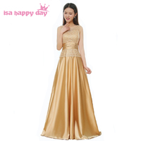 laced o neck floor length satin bridesmaid dress women brides maides dresses 2017 for party long gold color women B3987